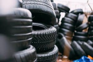 Pile of car tyres